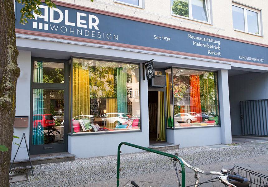 Fassade und Aussenansicht Adler Wohndesign Raumausstatter Berlin