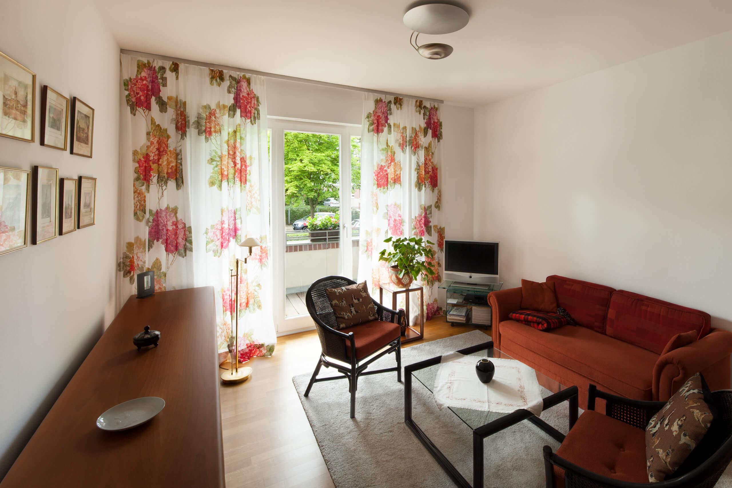 leinen gardinen mit muster adler wohndesign. Black Bedroom Furniture Sets. Home Design Ideas